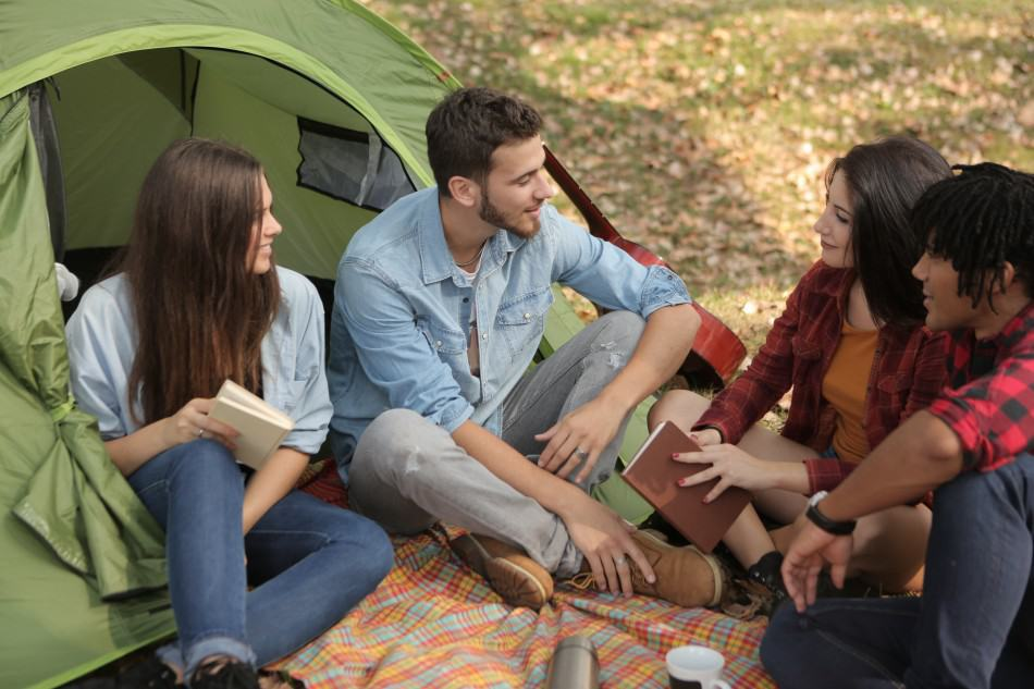homeschooling and camping family